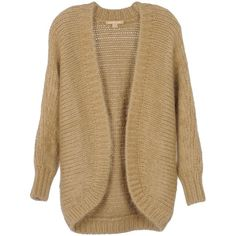 Michael Kors Cardigan ($270) ❤ liked on Polyvore featuring tops, cardigans, sweaters, outerwear, jackets, sand, long sleeve cardigan, michael kors, beige cardigan and heavy cardigan