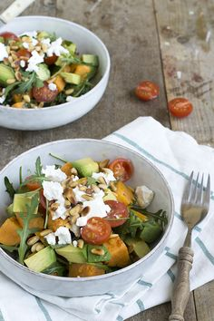 Sweet potato salad Healthy lunch Easy meal through brendakookt. Salad Recipes For Dinner, Healthy Salad Recipes, Veggie Recipes, Lunch Recipes, Paleo Recipes, Orzo, Salade Healthy, Salad With Sweet Potato, Potato Salad