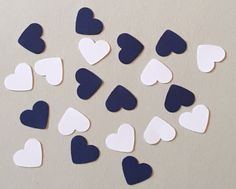 200 White and Navy Heart Confetti Birthday by JBPartyCreations