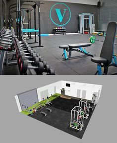 3D Gym Design and Bespoke FInished Gym in one case study. Slate Grey and turquoise finishes on the custom branded equipment allow for a truly premium finish