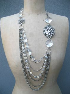 Vintage asymmetrical rhinestone and crystal necklace …