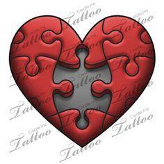 Marketplace Tattoo Puzzle Heart #18319   CreateMyTattoo.com