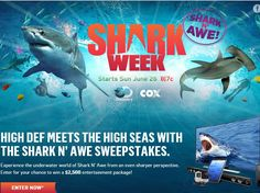 "Enter The Cox Shark N' Awe Sweepstakes for a chance to win a Samsung 55"" Smart TV, Sony Soundbar, an iPad Air, and a HERO4 Silver GoPro Dive Camera!"