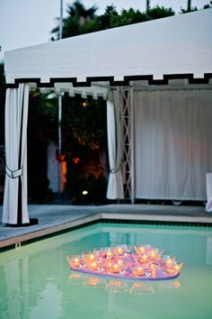 Photography by Happy Confetti / Event Coordination by The Bride and I / Viceroy Palm Springs wedding idea Floating Pool Decorations, Bridal Shower Decorations, Wedding Decorations, Palm Springs Style, Floating Candles, Outside Wedding, Wedding Receptions, Wedding Inspiration, Wedding Ideas