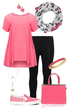 Tickled pink- plus size by gchamama on Polyvore featuring Maxima, aprico, Missguided, Kate Spade, Charlotte Russe and Fraas