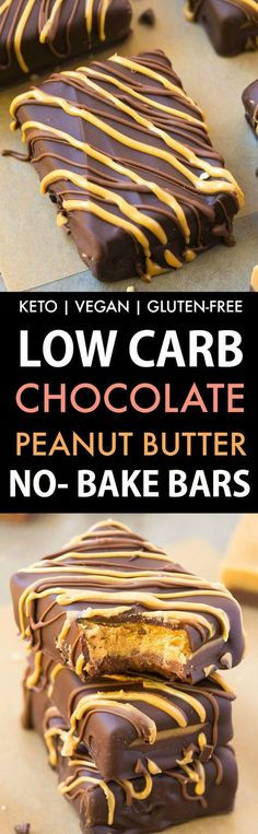 Low Carb No Bake Chocolate Peanut Butter Bars (Keto, Vegan, Sugar Free)- Easy, delicious protein-rich bars which taste like Reese's peanut butter cup.
