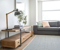 Create a stylish industrial-inspired look with the metal accents and rustic timbers of the Phoenix TV Unit Tv Cabinet Design, Tv Unit Design, Tv Wall Design, Tv Unit Furniture, Living Furniture, Pallet Furniture, Reclaimed Furniture, Metal Furniture, Living Room Cabinets