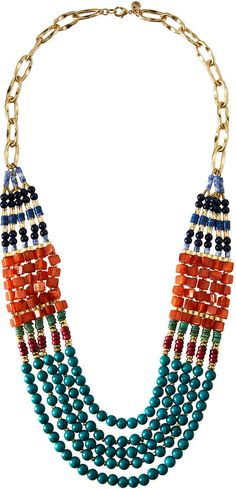 Lydell NYC Long Five-Strand Beaded Statement Necklace, Multi