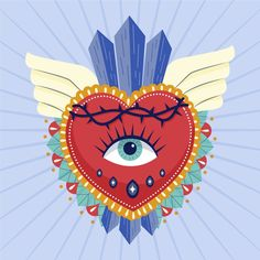 Discover thousands of free-copyright vectors on Freepik Illustration Design Graphique, Heart Illustration, Creative Illustration, Portrait Illustration, Mandala Art, Art Watercolor, Design Poster, Mexican Folk Art, Sacred Heart