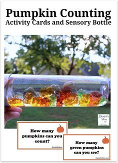 pumpkin sensory bottle and activities.