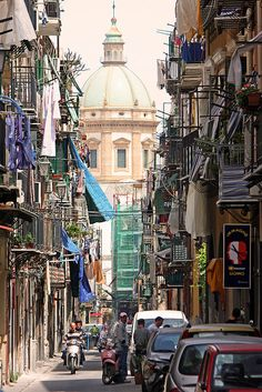 Busy street in Palermo, Italy.  Palermo is a city in Insular Italy, the capital of both the autonomous region of Sicily and the Province of Palermo.