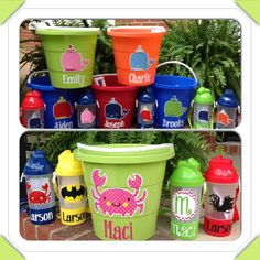 Personalized Beach Buckets/Kids Tumbler combo