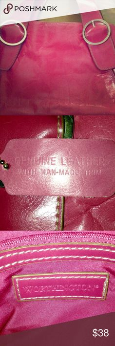 """""""Worthington"""" Genuine Leather Pink Handbag👛 """"Worthington"""" Genuine Leather Pink Handbag👛 Three VERY spacey interior pockets • Middle pocket has a double zipper, as seen in photos • One of the side pockets has a large zipper pocket inside • One of the other pockets on the opposite side of the bag has two more interior pockets. There are two big Silver loops on the front & back of the bag holding the straps. Genuine Leather tag attached. This bag is in GREAT CONDITION! 👛💕✨💖 Worthington…"""