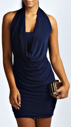 Navy Drape Front Bodycon Dress ♥. Adore this sexy navy blue dress!!!