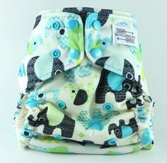 Blue Baby Elephants All in One AIO One Size Cloth  Diaper 7-40 lbs with Super Heavy Organic Bamboo Fleece Teal Snaps by BICKLEBEAR, $32.00  bicklebear.etsy.com