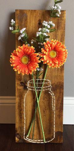 Items similar to Mason Jar Flower String Art on Etsy Wine Bottle Crafts, Mason Jar Crafts, Mason Jar Diy, Crafts To Sell, Diy And Crafts, Mason Jar Flowers, Arts And Crafts House, Wood Gifts, Nature Crafts