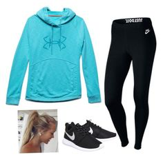 """""""Comfy but cute"""" by kemsisters ❤ liked on Polyvore featuring Under Armour and NIKE"""
