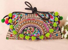2015 New Original Ethnic Embroidery Bags Double-sided Embroidered Shoulder Messenger Bag Wool Ball Bells Clutch Cover Handbag