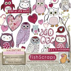 Printable Collage Sheet - Pink and Purple Owls - Valentine Digital Graphics - Commercial Use Clip Art by Carrie Stephens, via Flickr