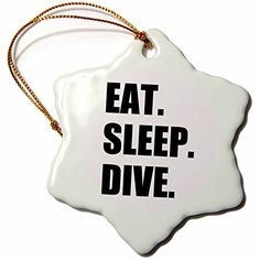 3dRose orn_180395_1 Eat Sleep Dive Passionate About Diving High Board Or Scuba Diver Snowflake Ornament Porcelain 3Inch * Check this awesome product by going to the link at the image.