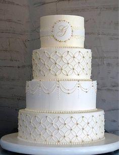 Beautiful Cake Pictures: Elegant White Tiered Cake with Monogram: Elegant Cakes, Wedding Cakes, White Cakes