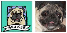 Bruiser: Pug - Custom Pet Portrait by Anne Leuck Feldhaus http://AnnesArt.com