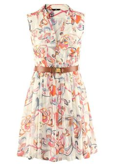 Beige Floral Belt Pleated V-neck Sleeveless Chiffon Dress