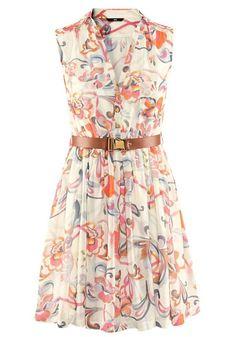 Beige Floral Belt Pleated V-neck Sleeveless Chiffon Dress