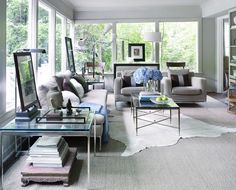 The Home of Lisa Martensen and Don Skipper: the family room - sofa and chairs from B&B Italia