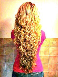 long curly blonde hair