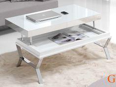 Mesa de centro elevable 110 x 60 cm. lacada con tapa base porcelánica blanca de 3 mm. patas en acero cromado brillo.