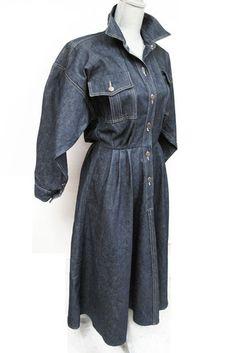 Vintage 80s Norma Kamali Denim Batwing Dress Pristine s M   eBay