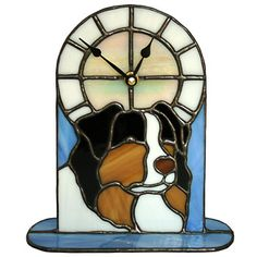 Adding another stained glass clock to our repertoire, here is an Australian Shepherd Dog, in a stained glass desk clock style, with sky blue glass accenting the tri-color Aussie. Original Stained Glass Copyright 2010 by Diane L. Aussie Dogs, Australian Shepherd Dogs, Bernese Mountain, Mountain Dogs, Glass Desk, Glass Art, Tiffany, Wall Watch, Animation