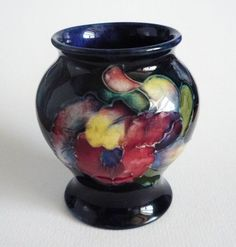 Moorcroft Cobalt Blue 'Orchid' Miniature Vase c1940