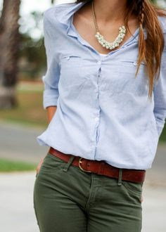 Olive Green Hollister Co Pants Outfit with Blue Striped Gingham Button Up Blouse Top, Franco Sarto Brown Heeeled Booties with Brown and black color block clutch with pearl necklace accessories from Moo's Musing