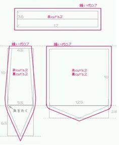 無料型紙製図 バネポーチ12cm作り方