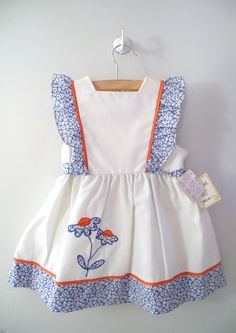 "1960's White, Blue and Red ""Daisy"" Pinafore"