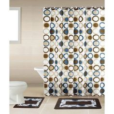Sami Brown & Blue Circle 15-Piece Bathroom Accessory Set: 2 Bath Mats, Shower Curtain & 12 Fabric Covered Rings