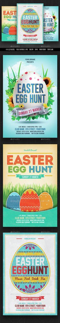 Easter Egg Hunt Flyer Template PSD Bundle. Download here: http://graphicriver.net/item/easter-egg-hunt-flyer-bundle/15150036?ref=ksioks