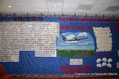 The left section of the Victims quilt with the Flight 93 scene. The quilt is done in three sections that are each 10 feet by 20 feet.