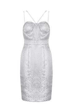Honey Couture SKYLA Silver Panelled Thin Strap Midi Dress
