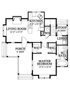 Allison Ramsey Architects | Floorplan for Low Country Retreat - 1226 square foot house plan # C0533