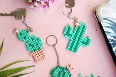 keychain made of iron-on beads . - Cactus keychain made of self-made iron beads :] Keychains iron beads -Cactus keychain made of iron-on beads . - Cactus keychain made of self-made iron beads :] Keychains iron beads - Perler Bead Designs, Easy Perler Bead Patterns, Hama Beads Design, Diy Perler Beads, Perler Bead Art, Hama Beads Pokemon, Diy Jewelry Unique, Diy Jewelry To Sell, Jewelry Ideas