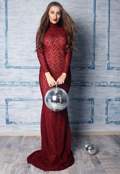 Marsala Mermaid Maxi Lace Evening Party Prom Dress
