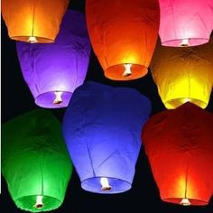 Chinese Sky Fly Fire Lanterns Wish  Wedding Multi Color