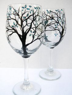 Hand Painted Wine Glasses ~ Teal Petals by TheScarletLine on Etsy, $30.00 Wine Bottle Glasses, Wedding Wine Glasses, Wine Bottle Corks, Wine Glass Crafts, Wine Craft, Wine Bottle Crafts, Wine Bottle Images, Light Bulb Crafts, Wine Painting