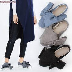 2017 spring european style big bow knot flats light blue black denim concise fit shoes high quality flat pumps women dressing