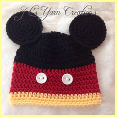 Hand Crocheted Mickey Mouse Beanie by JLsYarnCreations on Etsy