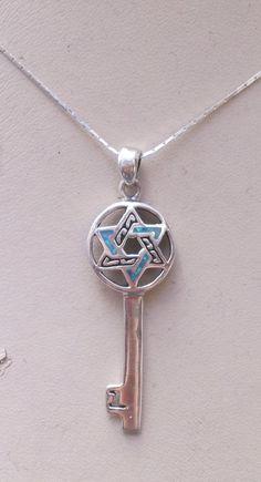 Necklace sterling silver key star of David pendant by Bluenoemi, $49.00