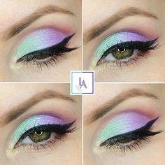 einhorn-make-up-augen-schminken-lidchatten-in-pastellfarben-grüen-augen-schminktipps What's Makeup ? What is Makeup ? Generally speaking, what's makeup ? Makeup Eye Looks, Eye Makeup Art, Cute Makeup, Pretty Makeup, Makeup Geek, Diy Makeup, Eyeshadow Makeup, Makeup Ideas, Pastel Eyeshadow